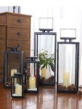 JJZT support rustique en fer noir   Lunettes coupe-vent dextérieur en fer noir, grande étagère nordique Kaarsenhouder, décoration de la maison