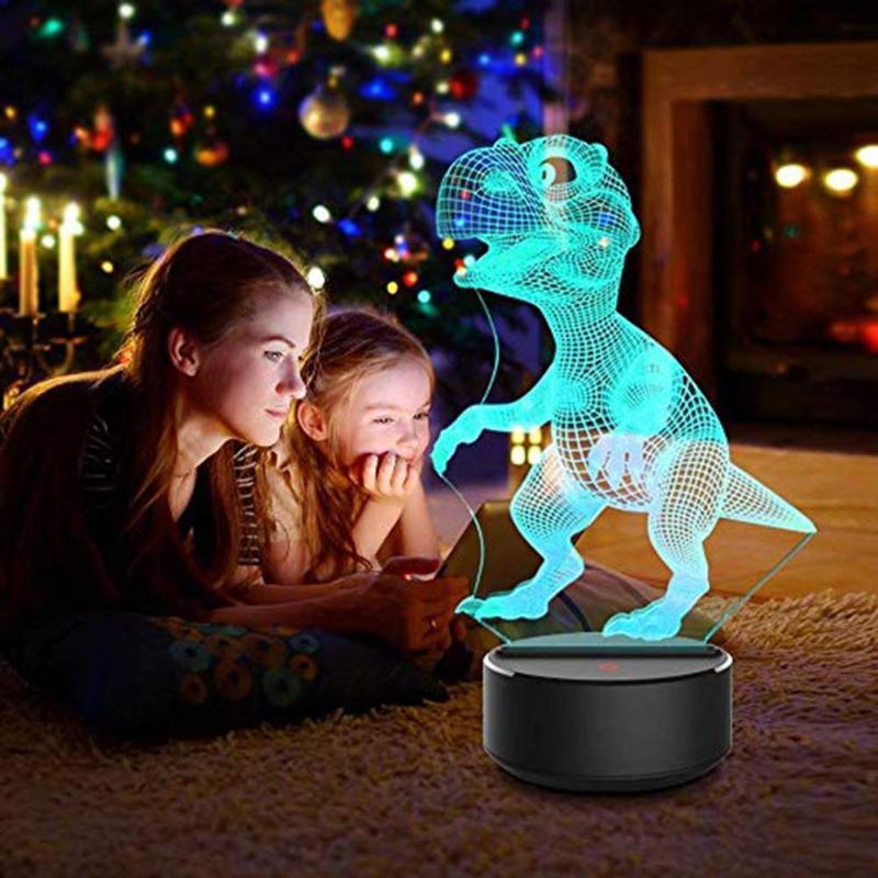 3d dinossauro luz decoração da casa 7 mudança de cor controle toque crianças 3d led night light sete cores mudança com toque inteligente
