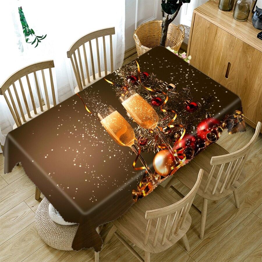Mantel de Navidad 3d champán vino y perro patrón festivo grueso algodón paño Rectangular mesa redonda para Navidad
