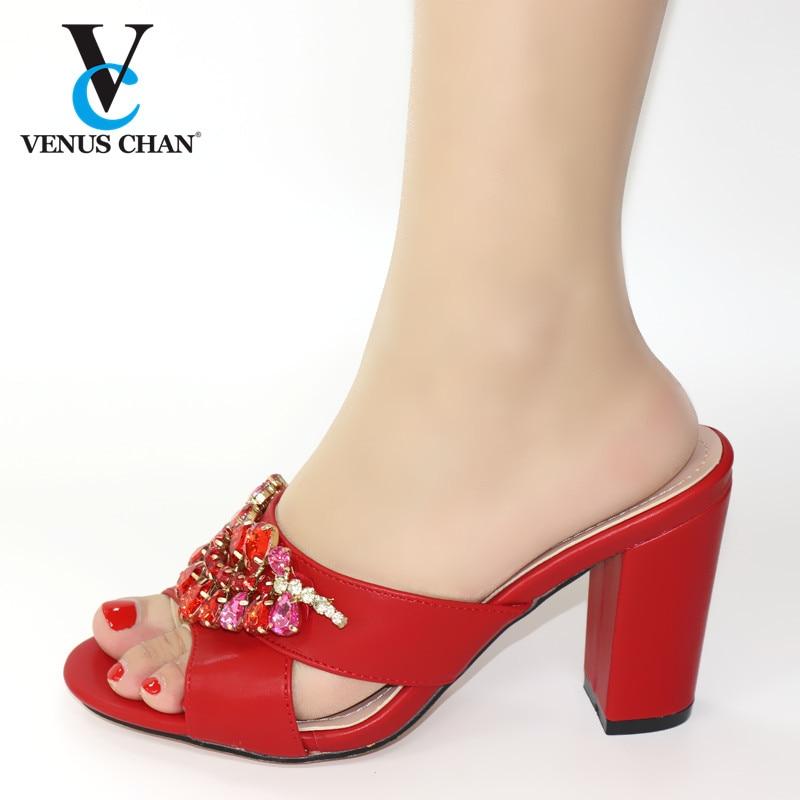 Zapatos de Color rojo para boda, zapatillas de verano de tacón alto, sandalias africanas de alta calidad, zapatos de tacón, zapatos italianos de mujer para fiesta