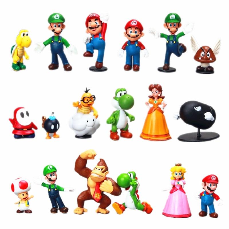 Фигурки Super Mario Bros, 18 шт./лот/набор, игрушки из ПВХ, Йоши, персик, принцесса, Луиджи, застенчивый парень, Одиссея, осел Конг, куклы из мультфильмо...