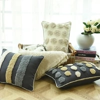 nordic style living room geometric pillowcover cotton canvas tufted embroidery throw cushion cover decoration pillowcase 40734