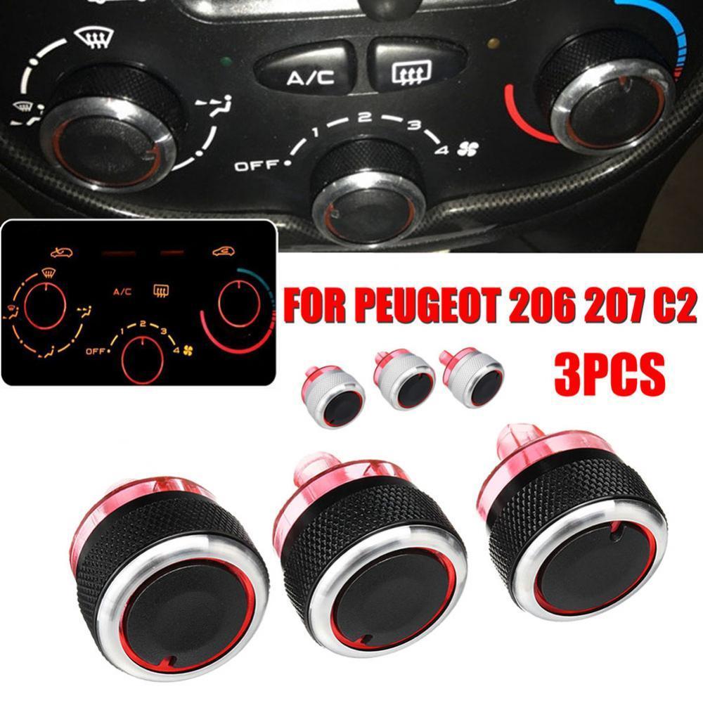 Hot Sale 80% 3Pcs Aluminum Alloy A/C Heater Switch Knob Buttons Set for Peugeot 206 207 C2