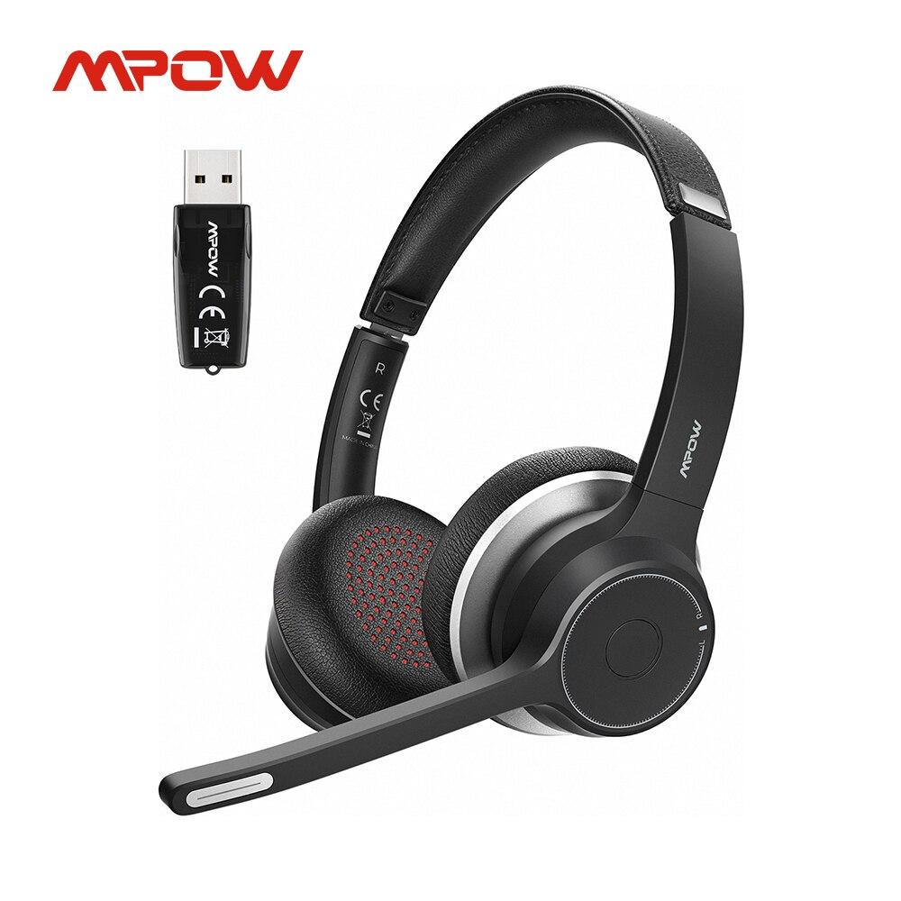 Mpow-سماعة رأس لاسلكية HC5 مزودة بمحول USB ، وجهاز مزود ببلوتوث 5.0 ، لمركز الاتصال ، ووقت التحدث 22 ساعة ، و CVC 8.0 ، وميكروفون إلغاء الضوضاء