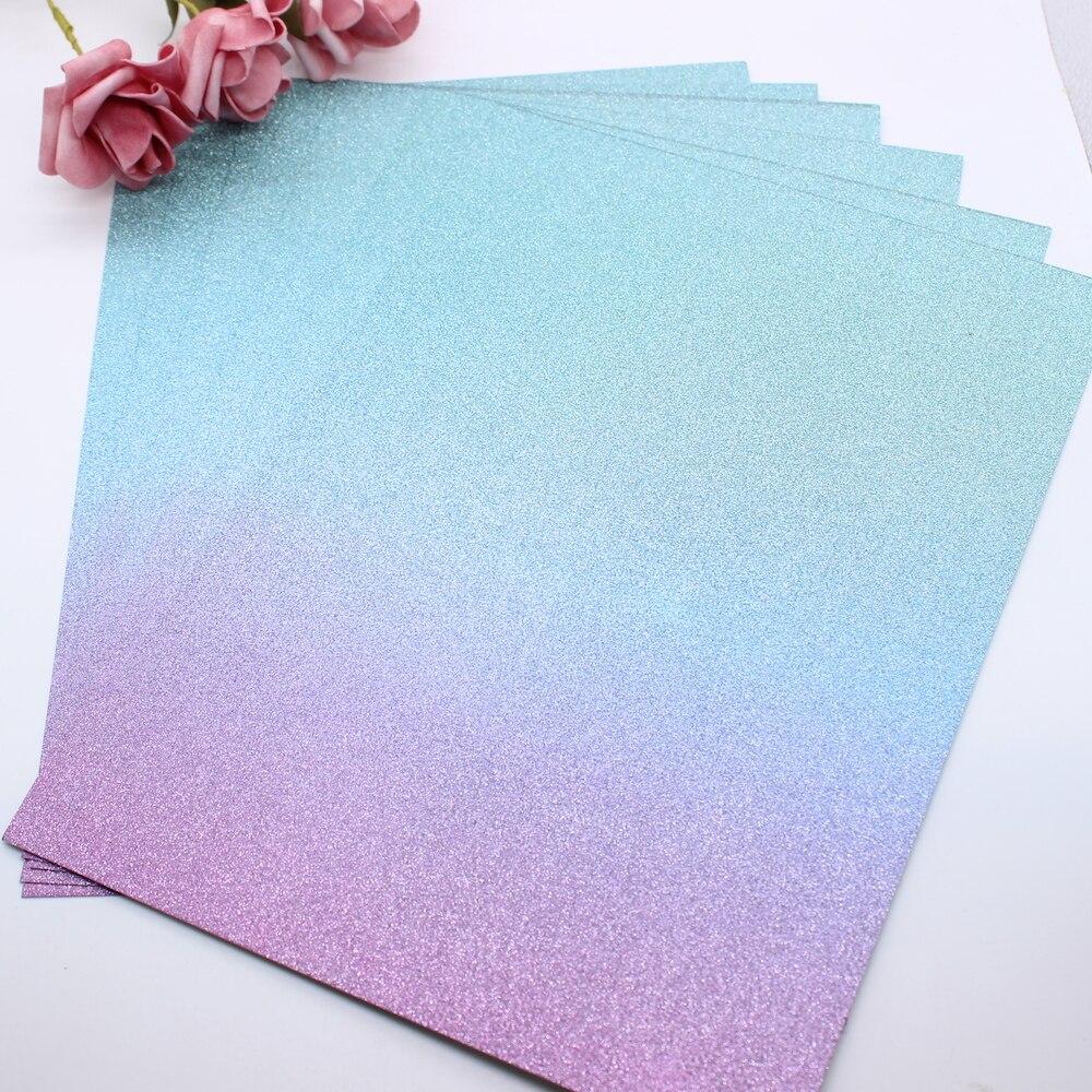 KLJUYP A4 Ombre Glitter Premium Card Pack 220GSM 6 hojas verde azul y púrpura
