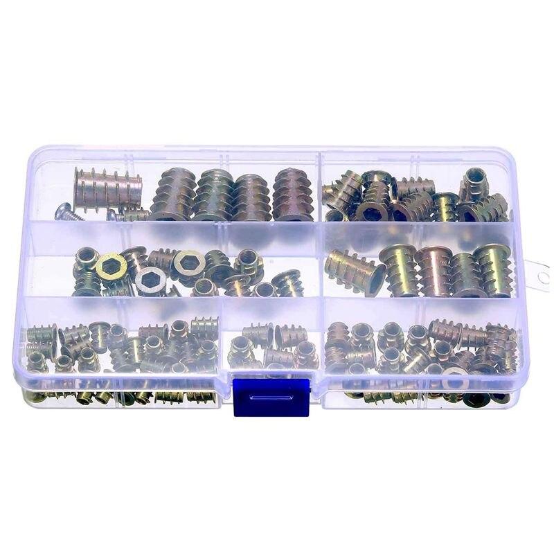 100 piezas M4/M5/M6/M8/M10 muebles de aleación de Zinc tornillo con cabeza hexagonal insertos roscados insertos tuercas surtido Kit de herramientas para madera F