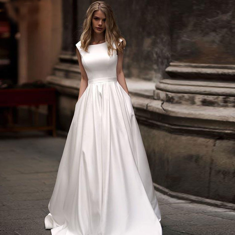 Review BANVASAC Simple Scoop Satin A Line Wedding Dresses Draped Sash Sweep Train Lace Up Backless Bridal Gowns