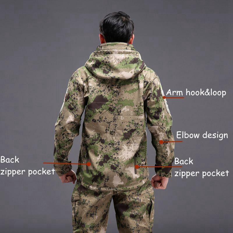 Airsoft Camping Tactical Jacket Hiking Jacket Army Jackets Men Hunting Military Shark Skin SoftShell Waterproof Windbreaker