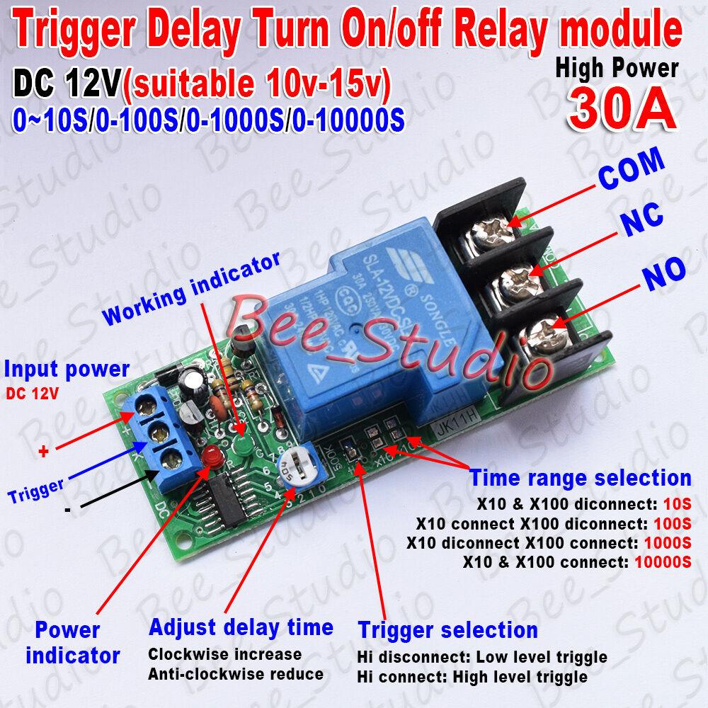 Temporizador de disparo PLC DC12V, interruptor de encendido/apagado, módulo de relé de...