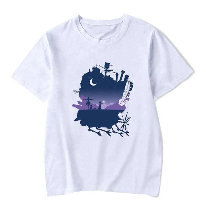 Sophie e calcifer casual t shirt feminino engraçado de alta qualidade confortável moda harajuku camisetas femininas para o verão 3xl
