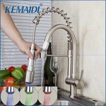 KEMAIDI Keuken LED Licht Pull Down Nikkel Geborsteld Spoelbak Enkele Handvat Water Tap Vessel Vanity Toilet Mengkraan Torneira Kraan