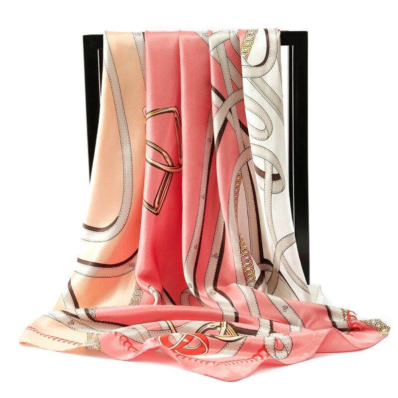 2020 moda Luxo Praça Scarf Mulheres Estilo Italiano Impressão Cinto Grande Xale Wraps Poliéster Cetim Headband Lenço Hijab 90x90cm