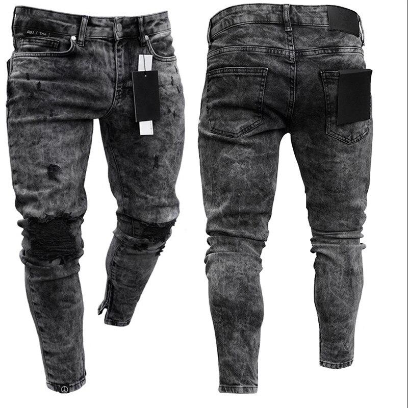 Мужские популярные высокоэластичные облегающие джинсы, черные рваные байкерские джинсы, Мужские повседневные джинсы на молнии для бега, мо...