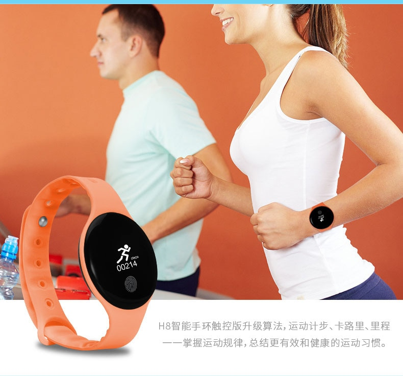 H8 Wristband Bracelet Smart Heart Rate Monitor Fitness Tracker with Touchpad OLED Screen for Android iOS