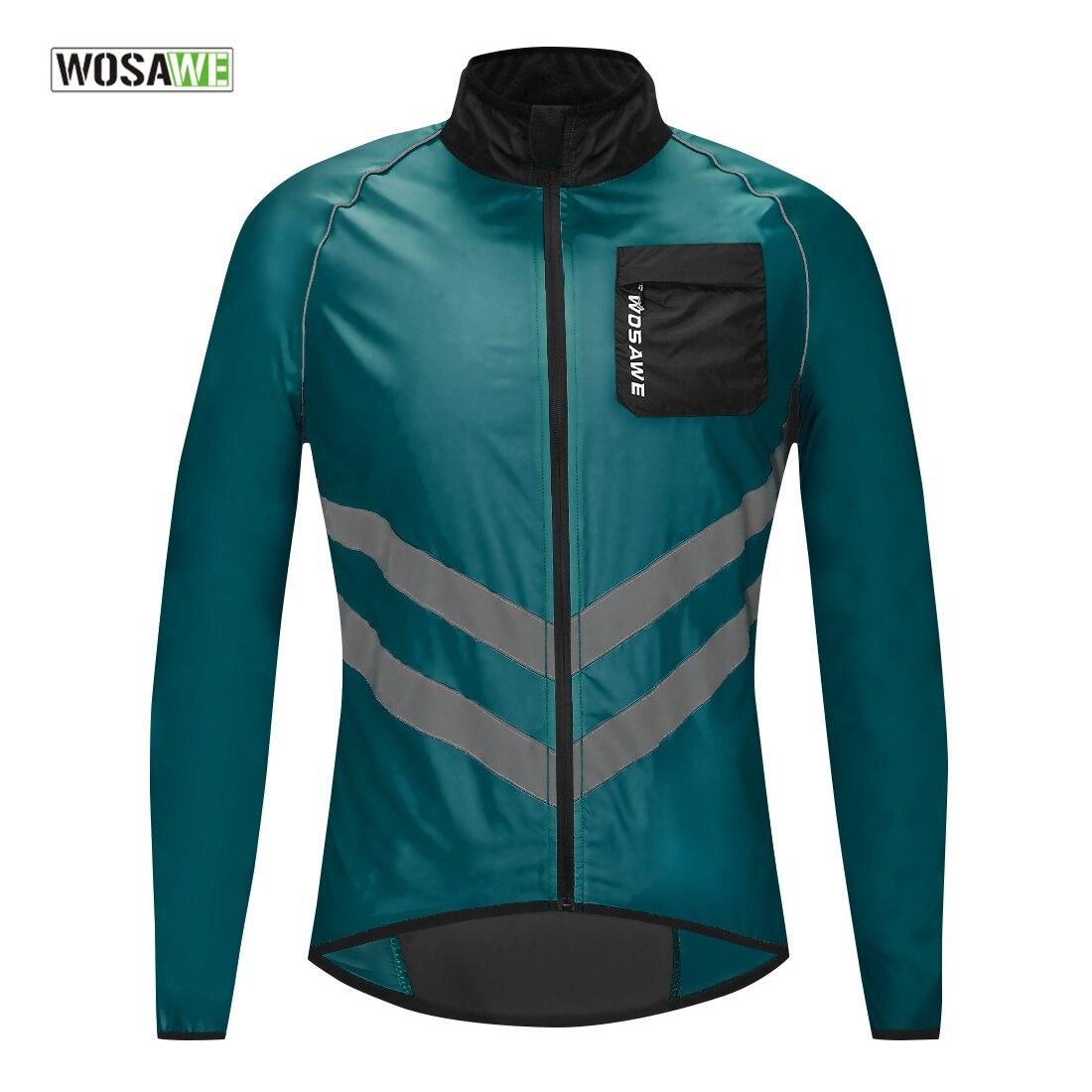 Esporte ao ar Blusão à Prova de Chuva Roupas da Bicicleta Wosawe Windproof Ciclismo Jaqueta Bicicleta Jérsei Livre Reflexivo Azul Marinho Mtb
