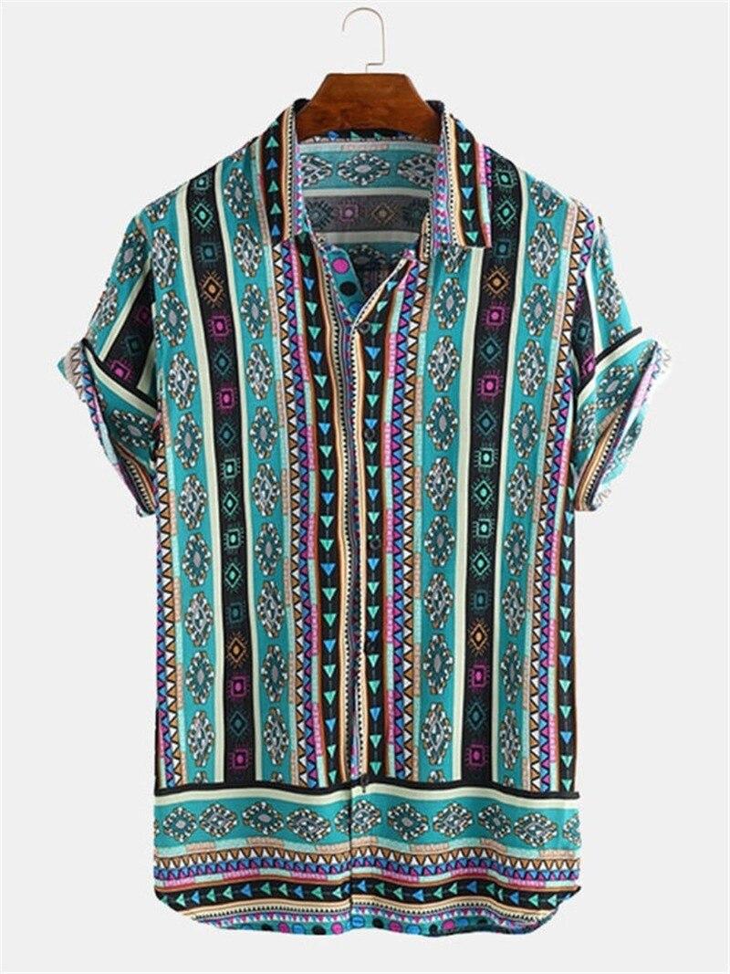 Men Shirt Ethnic Style Print Casual Lapel Streetwear Short Sleeve Tops 2020 Loose Tropical Hawaiian