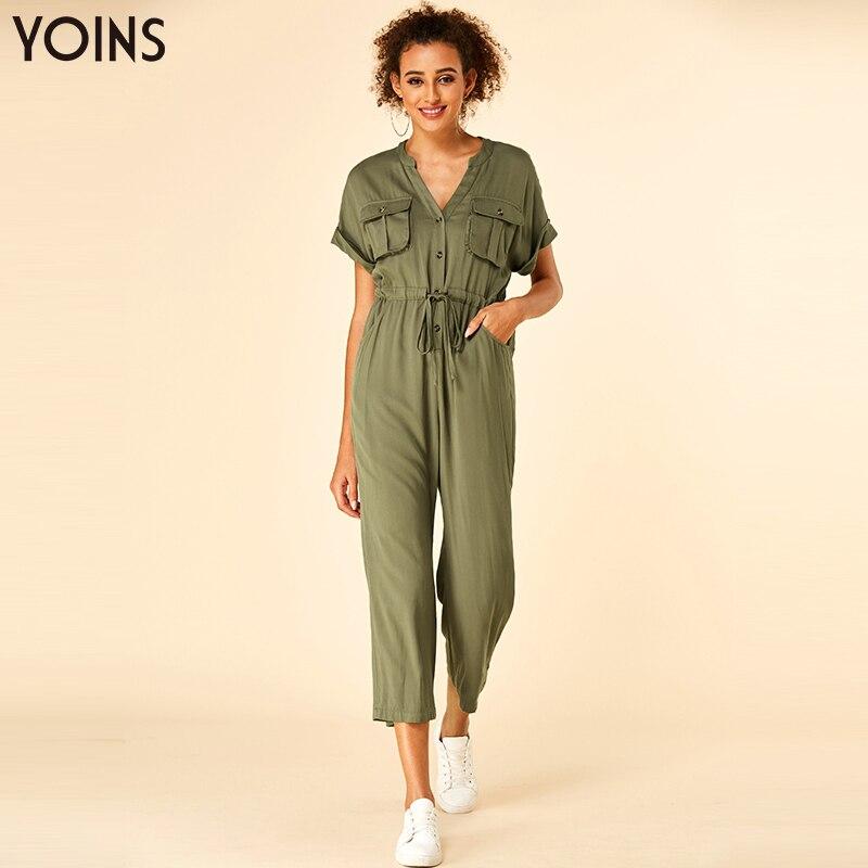 YOINS 2019 verano elegante cuello en V mono con botones bolsillos laterales mangas cortas con cordones mono Casual con cordón cintura