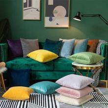 Housse doreillers décorative en velours massif   Couverture de coussin en velours doux, blanc, gris, jaune, bleu, 40x4 0, 60x60cm