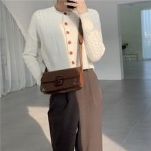 Special-Interest Design Peach Wood Grain Vintage Oily Leather Square Sling Bag Buckle Shoulder Cross