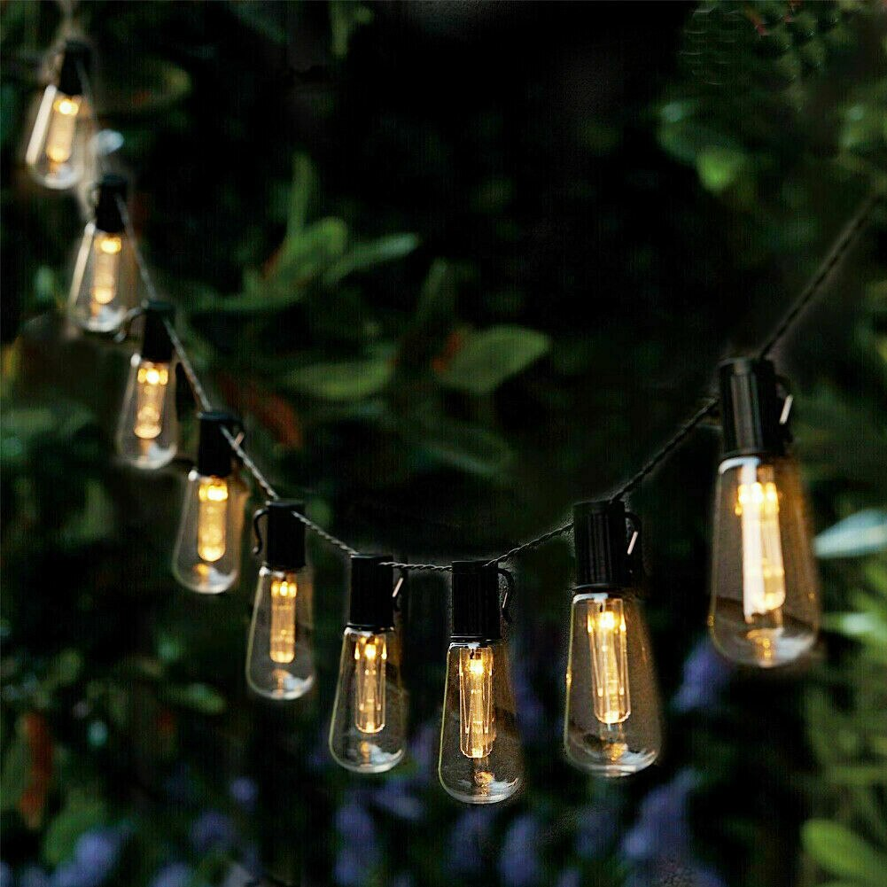 LED سلسلة مصابيح تعمل بالطاقة الشمسية أضواء في الهواء الطلق الديكور خمر لمبة مصابيح IP65 مقاوم للماء عطلة حفل زفاف حديقة الجنية ضوء