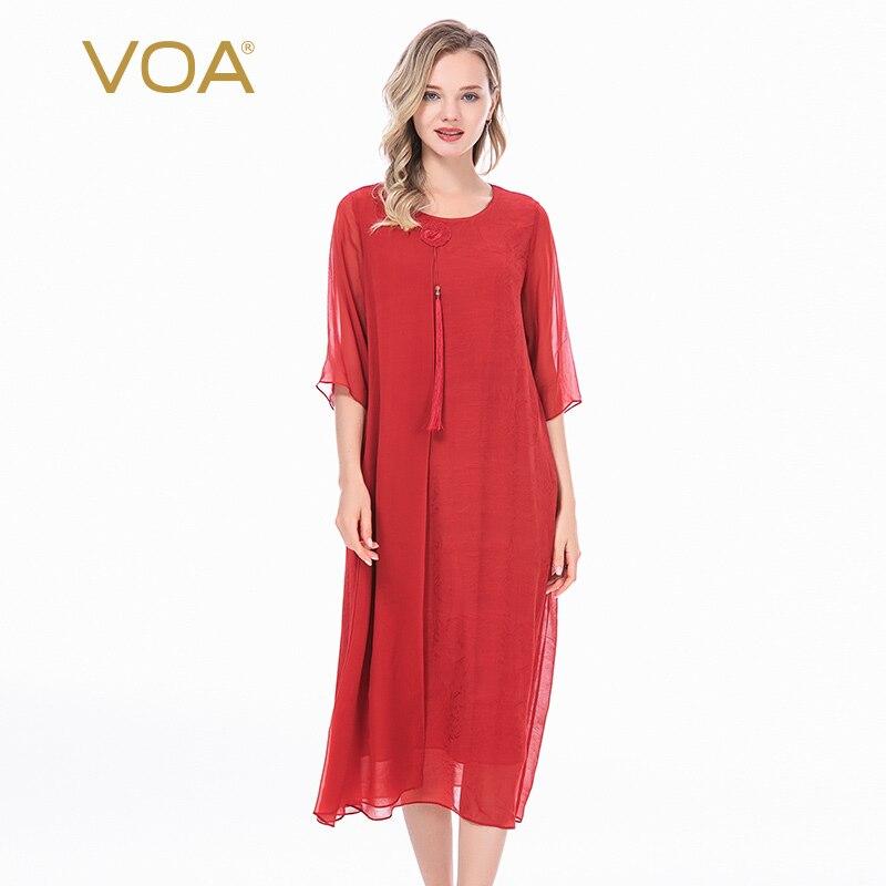 VOA النقي اللون الحرير جولة الرقبة مطرزة شرابة الزخرفية خمسة نقطة قصيرة الأكمام منتصف طول الصينية نمط اللباس AJ8-1