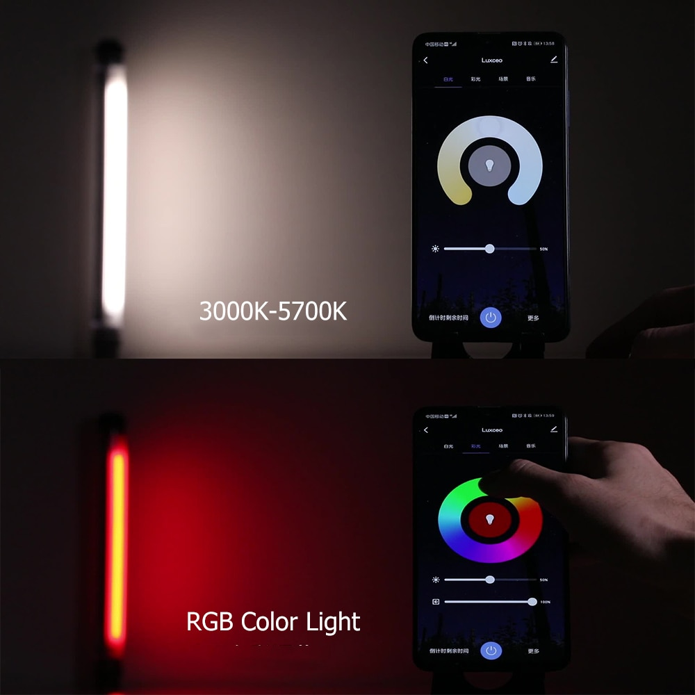 LUXCEO RGB Handheld Photography Light APP Control 360 ° Full Color LED Video Light Wand 12 Lighting Modes,CRI≥95 IP68 Underwater enlarge