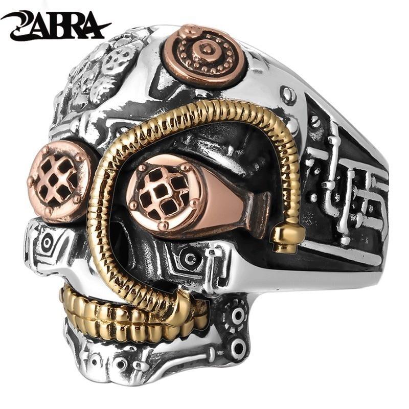 زابرا-خاتم جمجمة من الفضة الإسترليني للرجال ، خاتم كبير ، عتيق ، بانك ، راكب الدراجة النارية ، صلب ، 925 فضة ، قوطي