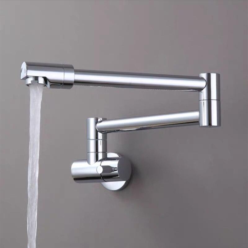 حنفيات المطبخ LIUYUE, حنفية المطبخ LIUYUE سوداء/كروم نحاسية واحدة مثبتة على الحائط الحمام 360 تدوير قابلة للطي صنبور حوض رافعة صنابير الحوض
