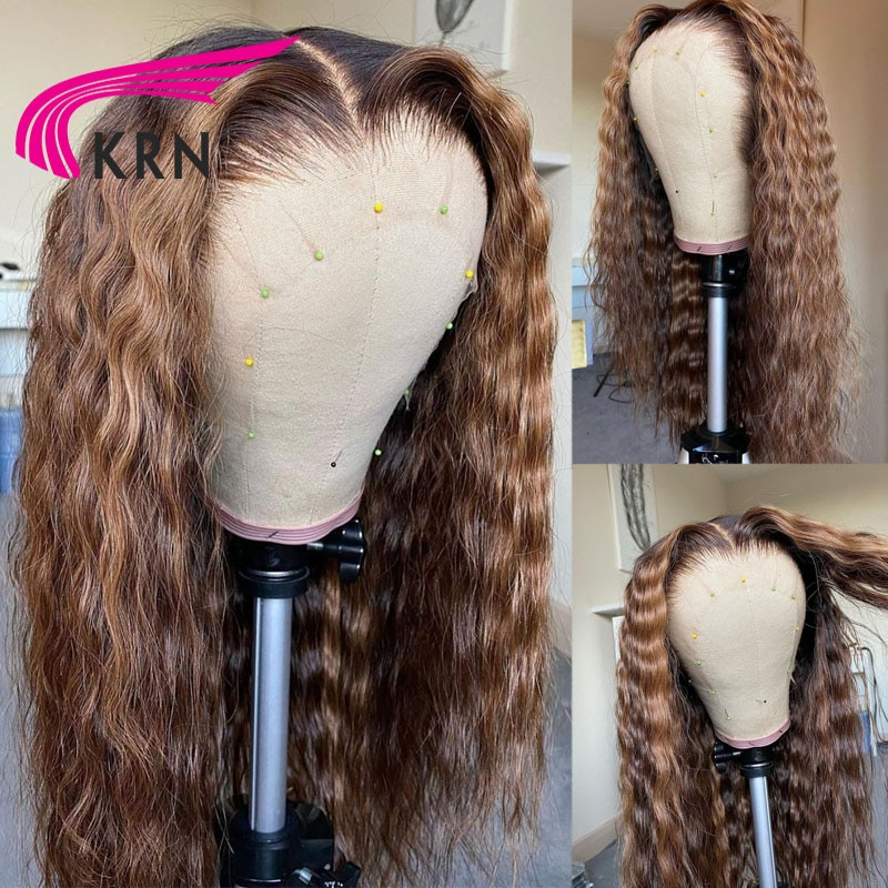 KRN Curly Hair 13x4 4x4 Lace Front Wig With Boby Hair Brazilian Colored Human Hair Wigs For Women Ho