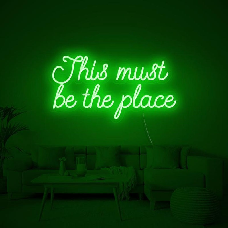 OHANEONK  Led Neon Sign Light of This must be the place For Christmas Birthday Wedding Decor Home Bedroom Wall Decoration Gift
