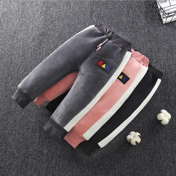 Boys girls winter pants children casual cotton thick velvet trousers for baby kids fashion warm clothes toddler 3 4 5 clothing