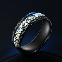 2020 nouvelle arrivée mode 316L acier inoxydable or Dragon homme anneau Blu-ray Simple mode haute qualité bijoux