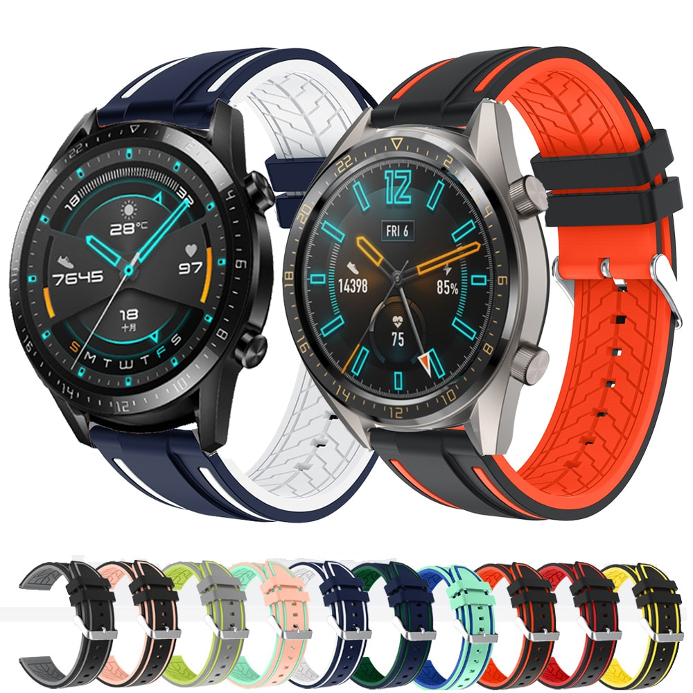 Strap For Huawei Watch GT 2 46mm GT GT2 Strap Two-tone Silicone Watch Strap Replacement Watchband Sport Bracelet 22mm Watch Band недорого