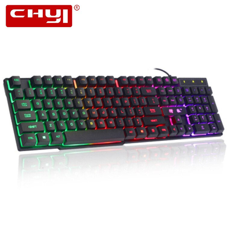 Teclado mecánico para juegos de ordenador CHYI con Cable Usb teclado ergonómico retroiluminado RGB teclado de 104 teclas para juego de portátil PC Gamer