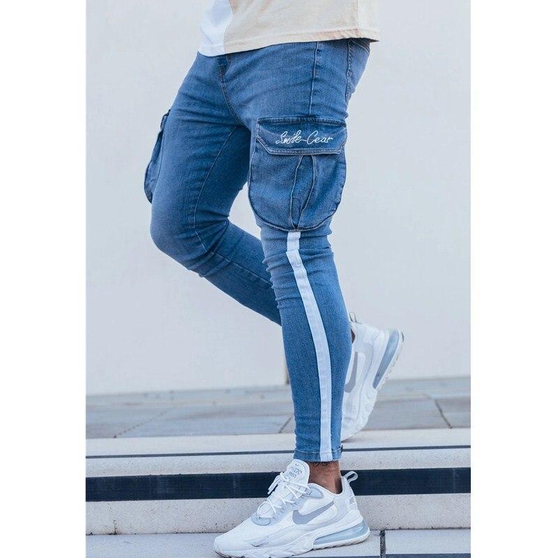 Мужские узкие джинсы-карандаш, джинсы в полоску со множеством карманов, в стиле хип-хоп, потертые облегающие эластичные байкерские джинсы с ...