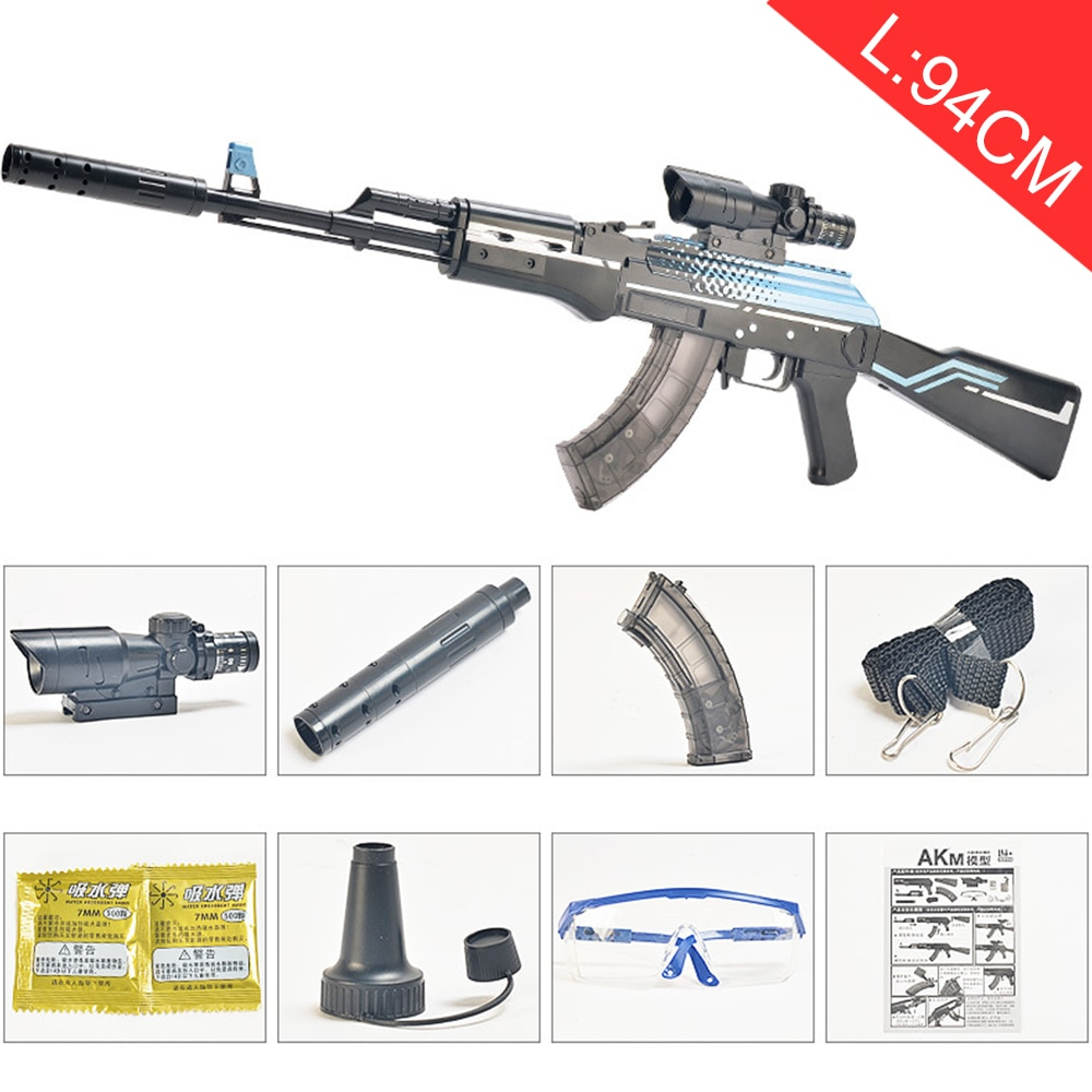 Plastic Manual Toy Gun AKM AK 47 Rifle Sniper Outdoors Soft Paintball Water Bullet Gel Ball Weapon Toys for Kids Gifts