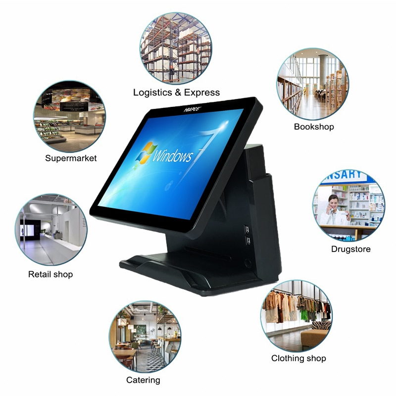 15 inch retail pos terminal windows pos terminal system for restaurants touch screen monitor food ordering cash register enlarge