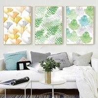 WTQ     toile de peinture nordique minimaliste  affiche dune piece  feuilles dorees vertes  decor mural