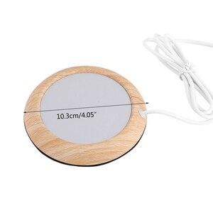 Подогреватель для стаканов с текстурой древесины, нагреватель для напитков, коврик для кружек с USB-разъемом, нагреватель для напитков, кружк...