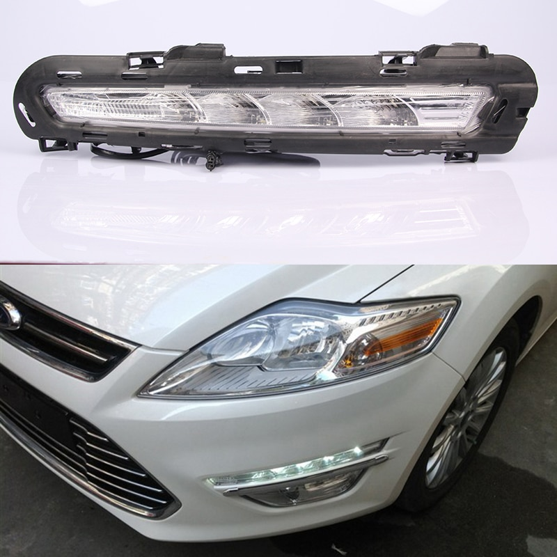 1 par intermitente para coche para Ford Mondeo Fusion 2011 2012 2013 luces de circulación diurna LED diurna con luz diurna amarilla