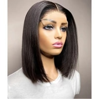 short cut jet black color straight middle part synthetic glueless lace front wig natural hairline for black women 180 density