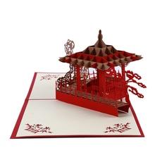 Cartes danniversaire style chinois Pop Up Suzhou   3D, cartes dinvitation découpées au Laser, carte darchitecture, cadeaux, carte de vœux, carte postale