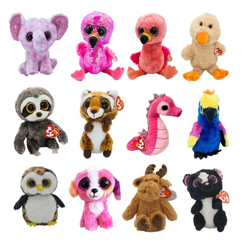 15 см Ty Beanie Boos большие глаза слон Фламинго морская лошадь попугай плюшевые мягкие животные супер мягкие прикроватные игрушки кукла подарок д...