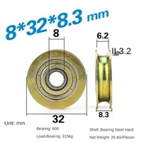 8328 3mm groove metal rust proof u type over wire rope guide wheel suspension wheel 608zz bearing pulley roller