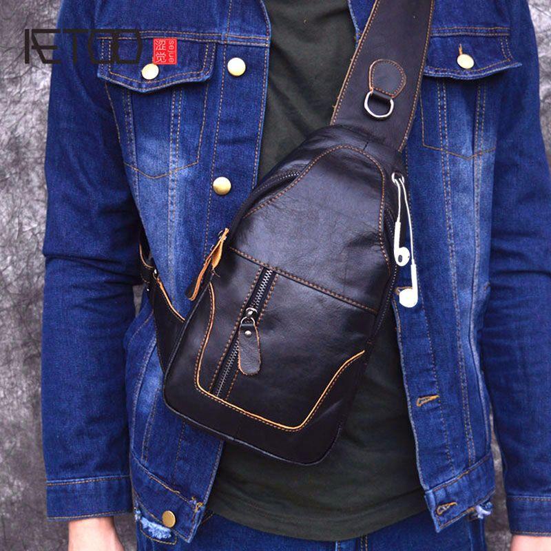 AliExpress - AETOO Male Bags Genuine Leather Shoulder Messenger Bag Men Sling Chest Pack Crossbody Bags for Men Belt Chest Bag Leather