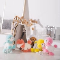 plush keychain cute simulation dog teddy toy mink hair cartoon animal bag car keyrings bag pendant for kids girlfriends