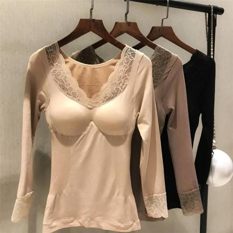 2020 novo outono inverno magro quente topos roupa interior térmica feminino rendas acolchoadas colheita topos senhoras forma do corpo tópicos t camisa e264