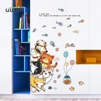 cute cat stacking arhat wall stickers for kids room wall decoration baby bedroom decor door self adhesive sticker home decor