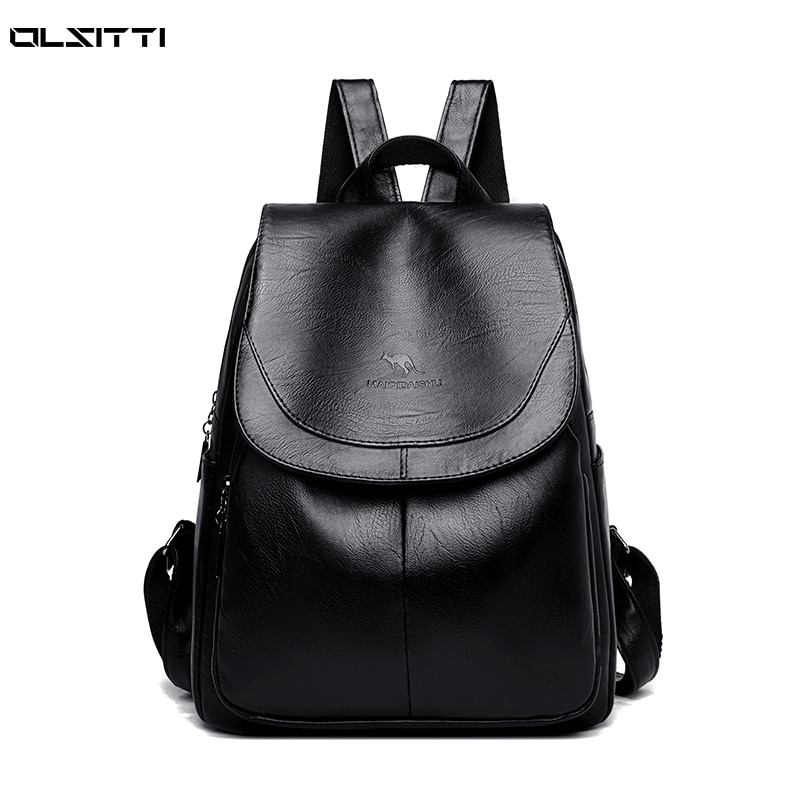 Fashion Elegant Backpacks for Women 2021 New High Quality Solid Color Leather Women Travel Daypack C