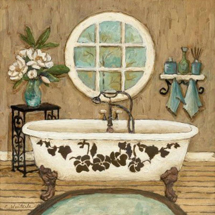 Bañera clásica, cuadrada completa/redonda, pintura de diamante bordado, punto de cruz, decoración para el baño, mosaico de diamantes de imitación FG1580